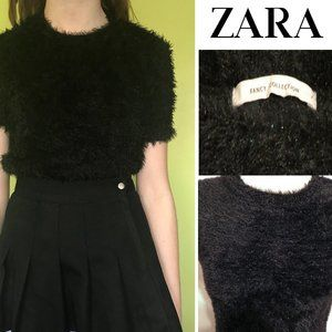 NWOT💕 ZARA Fuzzy Glitter Cropped Sweater Top